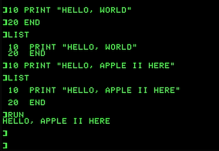 A very simple program written using Applesoft BASIC on a personal computer in the 1980s.