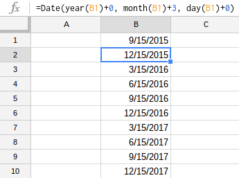 Quarterly reports? Add a new row for every 3 months.