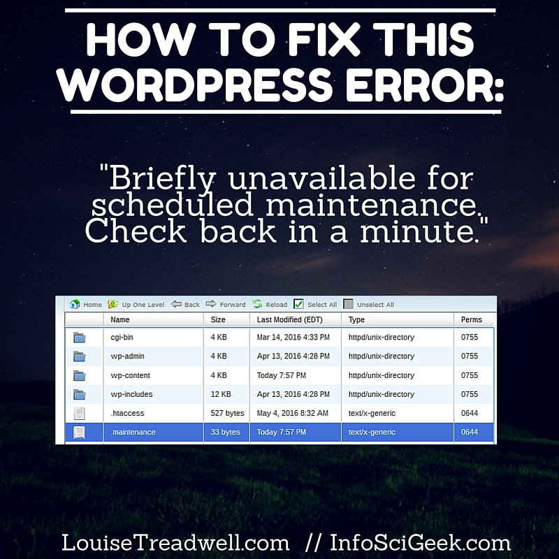 """How to Fix This WordPress Error """"Briefly unavailable for scheduled maintenance. Check back in a minute."""""""