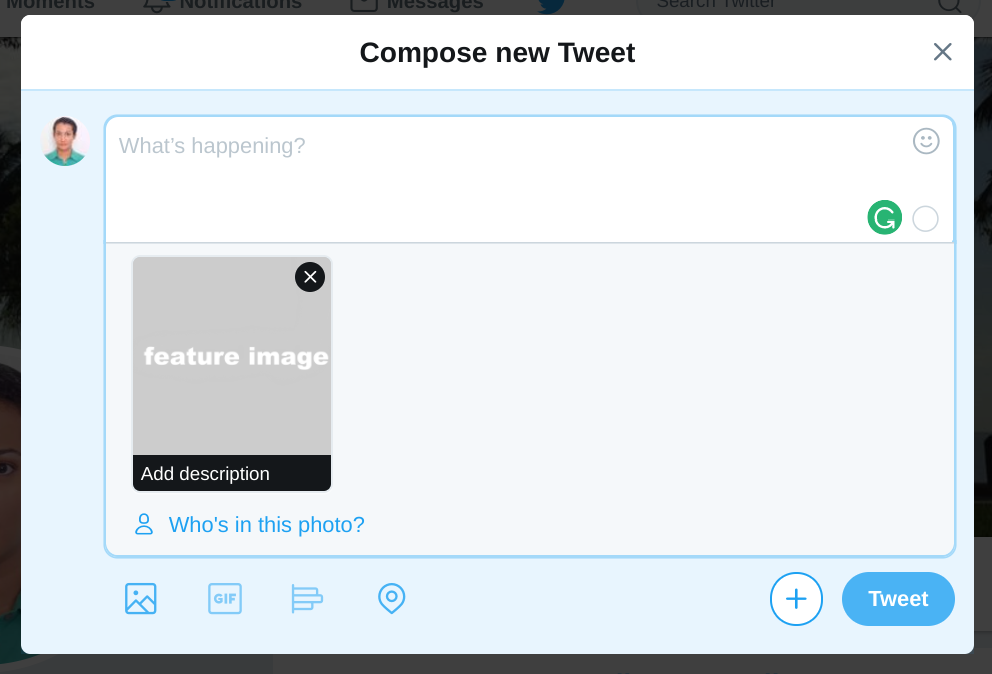 Screenshot from Twitter showing the process of uploading an image into a tweet with accessibility settings activated.